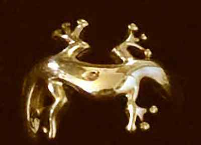 New Celtic Lizard Gecko Ring Gold plated over real Sterling Silver mirror effect