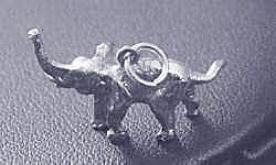 New 3D solid Sterling Silver 925 Pendant African / Asian Elephant Charm Jewelry