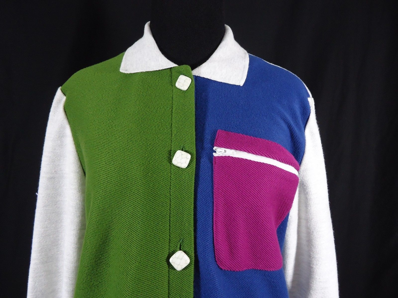 Vintage Peter Popovitch 80's-90's Style Button Down Jacket Multi-Color Blocks