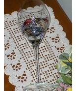 Milano Romanian Crystal Wine Glass Multi Swirls of Colors with Blue Line... - $29.99