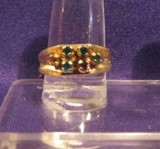 Vintage Signed SARAH COVENTRY Goldtone Ring or Band Multi Color Stones S... - $10.65