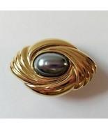 Avon Caviar Collection Gray Cabochon Center Pin/Clasp Gold Tone Frame Vi... - $14.47