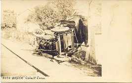 Auto Wreck at Cobalt Conneticut Vintage 1906 Real Photo Post Card - $15.00