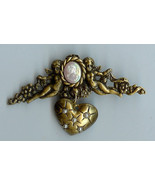 Cherub Cameo Pearl Studded Heart Pin Handmade* - $14.95