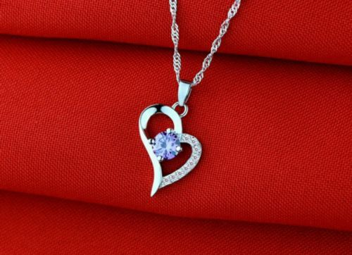 925 Sterling Silver Amethyst Diamond Heart Necklace Pendant RETAIL $20