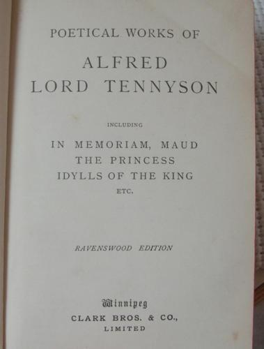 Antique POETICAL WORKS OF ALFRED LORD TENNYSON circa 1912 Clark Publishers Rare