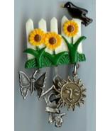 Bird on Fence Sunflower Garden Charm Pin Handmade - $10.00