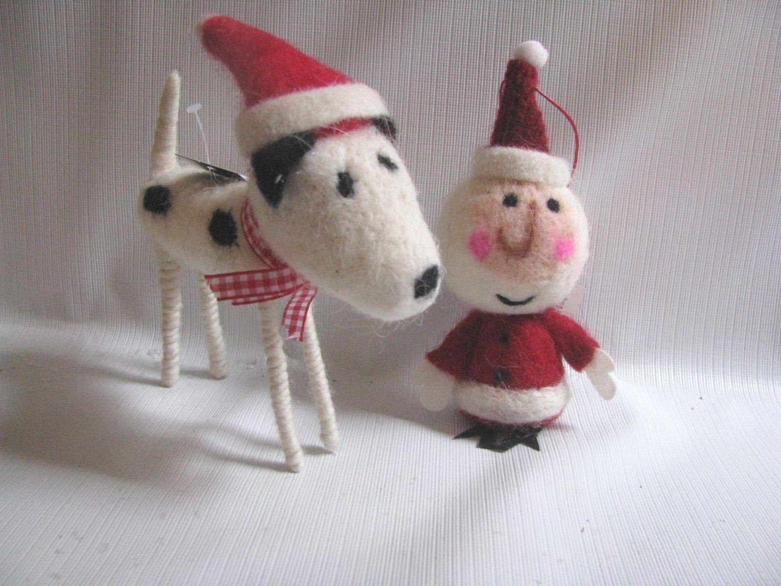 Red Felt Santa Christmas Ornament  wool