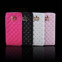 Gold Crown & Rivet Grid Soft Leather Protect Case Cover For Apple HIX - $13.36+