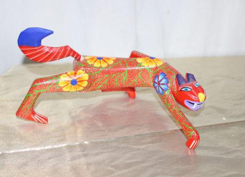 """Oaxaca Mexico Folk Art Wooden Ferocious Cat Orange & BLue Flowers 7-1/2""""  Signed"""