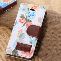 Luxury Flower jacquard PU Leather Stand Wallet Case Cover For iPhone5 5S 5HBUW-W - $4.59