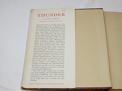 Thunder by Page Cooper 1954 World Junior Library book with dust cover #%