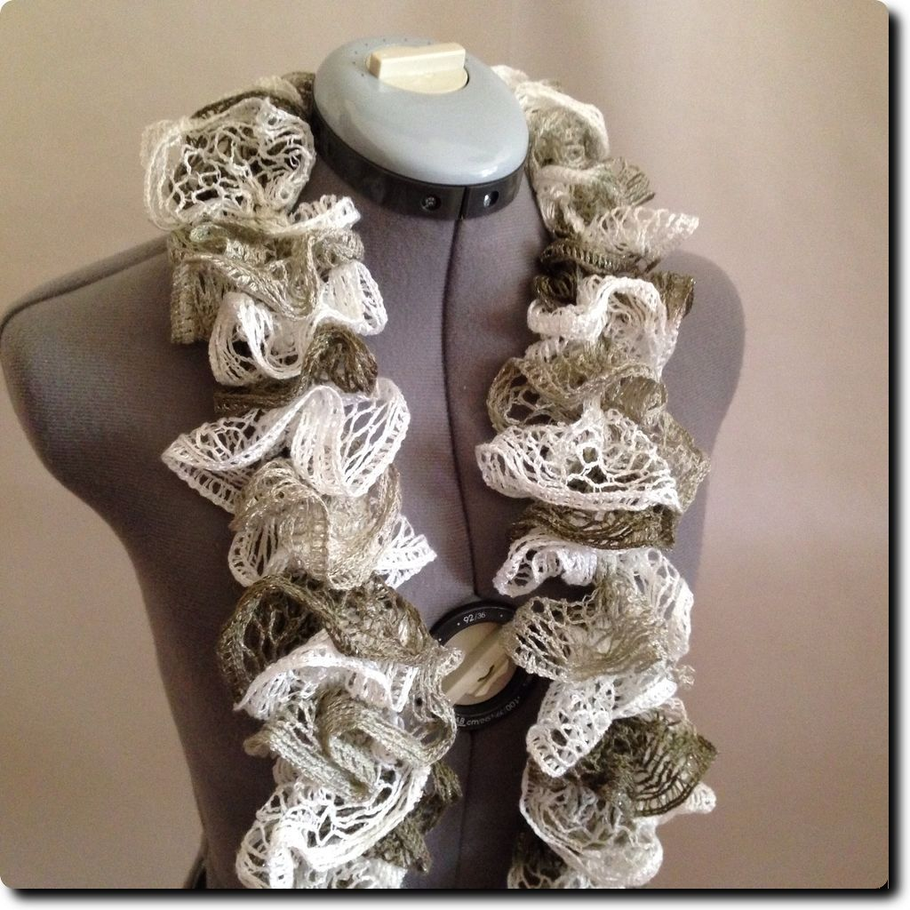 Ruffled Tri Color Scarf accessory with Metallic Silver Accent Threads 70 X 5