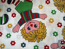 Colorful Raggedy Ann Andy Vintage Fabric 3-5 yds - $36.00