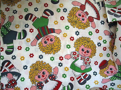 Colorful Raggedy Ann Andy Vintage Fabric 3-5 yds