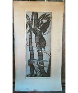 Exotic Birds Woodblock Etching Picture C. St. Martin 70-80's Realism - $24.99
