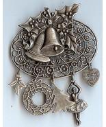 Handmade Bell Wreath with Charms Christmas Pin - $12.95