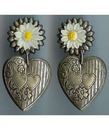 Interlocking Double Hearts Swinging From Daisy Earrings - $12.99