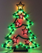 CHRISTMAS TREE Gold Star SILHOUETTE Lighted Window Decoration Indoor / O... - €12,80 EUR