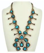 Sleeping Beauty Turquoise SQUASH BLOSSOM NECKLA... - $1,499.00
