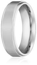 6MM Titanium Ring Wedding Band with Flat Brushed Top and Polished Finish... - $24.95