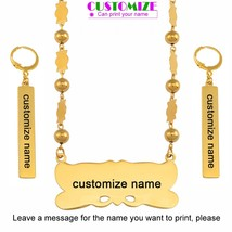 Anniyo Customize Name Pendant Beads Necklace Earrings Sets Marshall Sets... - $29.87