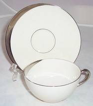 6 PICKARD CRESCENT IVORY COFFEE CUP SAUCER SETS PLATINUM 1123 LOT - $25.24