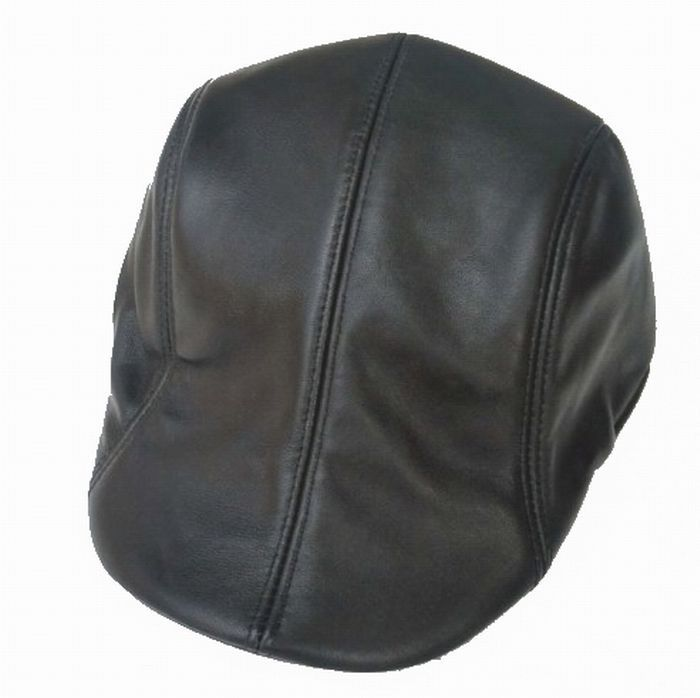 Men's Women's Real Leather Black Beret Hat Golf cap