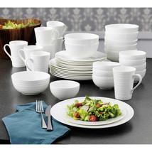 Mikasa, 37 Pc - Bone China White Dinnerware Set w Swirl Pattern, SEE DES... - $139.99