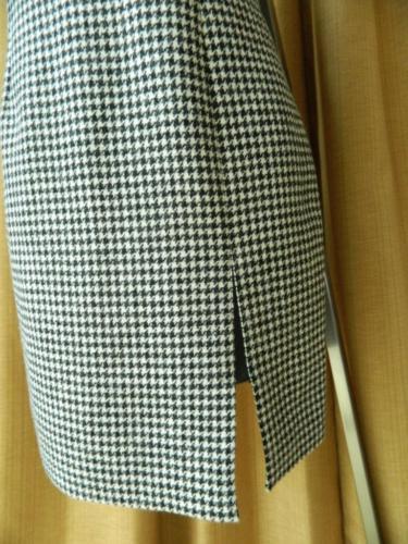 Saint Laurent Dress Leather Collar Slit Black White Houndstooth 36 $2990 NWT