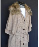 Ann Taylor LOFT Sweater Fur Trim S NWT Wool Blend Belt Button front  GOR... - $88.72