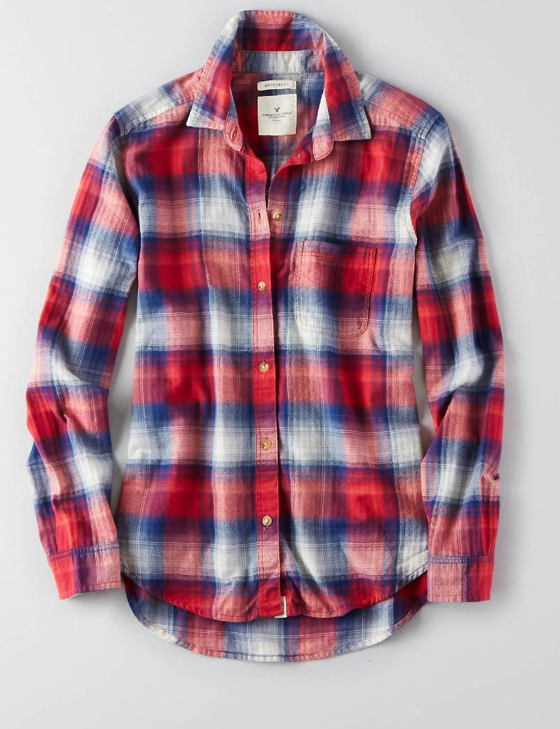 ab317aa40 S l1600. S l1600. Previous. American Eagle Outfitters AEO PLAID BOYFRIEND Button  Down Shirt MSRP $44.95