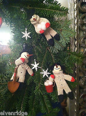 "3 Piece ""Snowmen at Work"" in Knit Sweaters Ornament Set cute snow men set"