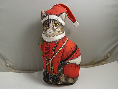 Santa Paws Cat Door Stopper Christmas Decor
