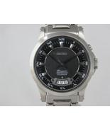 Seiko mens watches perpetual calendar black dial silver tone bracelet SN... - $405.90