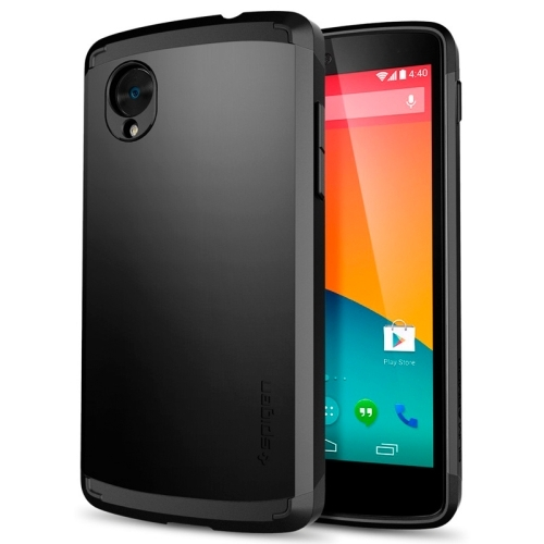 For Google Nexus 5 Black Tough Armor Plastic + TPU Combination Case