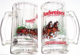 Budweiser Beer Steins Clydesdales Horses Mug Glass 1996 Vintage Lot of 7 - $99.95