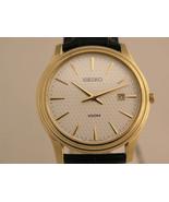 Seiko mens watches black bracelet gold tone case white dial classic SKP3... - $212.85