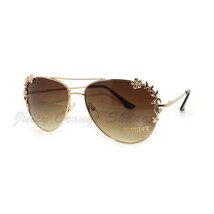 Gold Brown Aviator Sunglasses Womens Flower Floral Design - $9.85