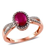 Ruby Solitaire Ring 2.12 carats 14K rose gold silver size 8 VALENTINES DAY - $87.99