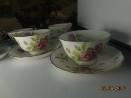 Adderley Cups and Saucers Lot of Six bone china England Free shipping  - $74.99