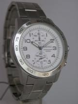 Seiko mens watches chronograph stainless steel bracelet white dial SNN191P1 - $165.33
