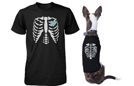 Skeleton Matching Pet and Owner T-shirts for Halloween Dog and Human App... - $37.99+