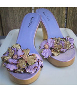 Michael Antonio Wood Sole Beaded Heels Shoes Fancy Sandals Purple Size 8M - $22.00