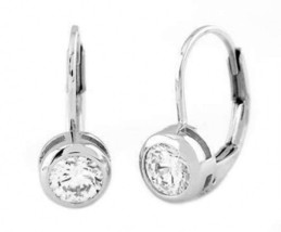Sterling Silver 1 Ct. Cz Bazel Set Round Cut Lever Back Earrings - $23.33