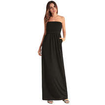 AOVEI Black Off Shoulder Backless Pure Color Beach Party Sexy Long Tube Dress - $21.99
