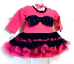 Babyrageous Babies R Us Hot Pink Black Bow Ruffles Dress Newborn Infant ... - $24.75