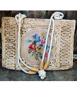 Rattan Vintage Handbag Purse Beige with Needlepoint Insert Vintage 60's-... - $22.00