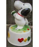 Schmid Peanuts Snoopy Ceramic Music Box 1966 Some Where My Love Aviva - $45.00