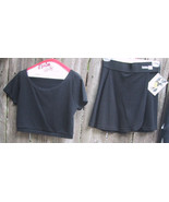 My Body and Me Wrap Front Top Skirt Black Cotton Blends Petites - $24.99
